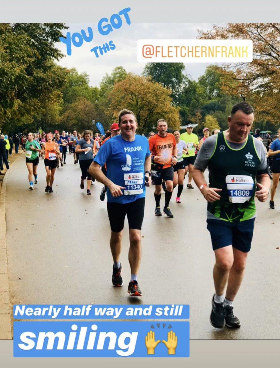 A big cheer for @frankfletcher 👏 Nearly half way in the @RoyalParksHalf 🍁