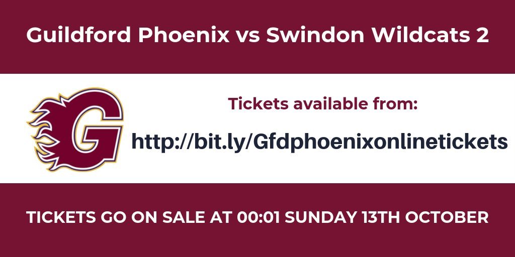 Tickets on sale now at bit.ly/Gfdphoenixonli… for Guildford Phoenix vs Swindon Wildcats 2 Adults £6 Juniors £2 Doors open 4.55pm Face Off 5.35pm Rink lower level is general standing area. Allocated seating is available in upper blocks. #guildfordphoenix #petrcech #icehockey