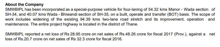 Quite a financial performance by the contractor for the last available data online - 2017. Supreme Manor Wada Bhiwandi Infrastructure Private Limited. Revenues for INR 48 cr. Loss of 29 cr. Loss 20 CR in FY16. twitter.com/RoadsOfMumbai/…