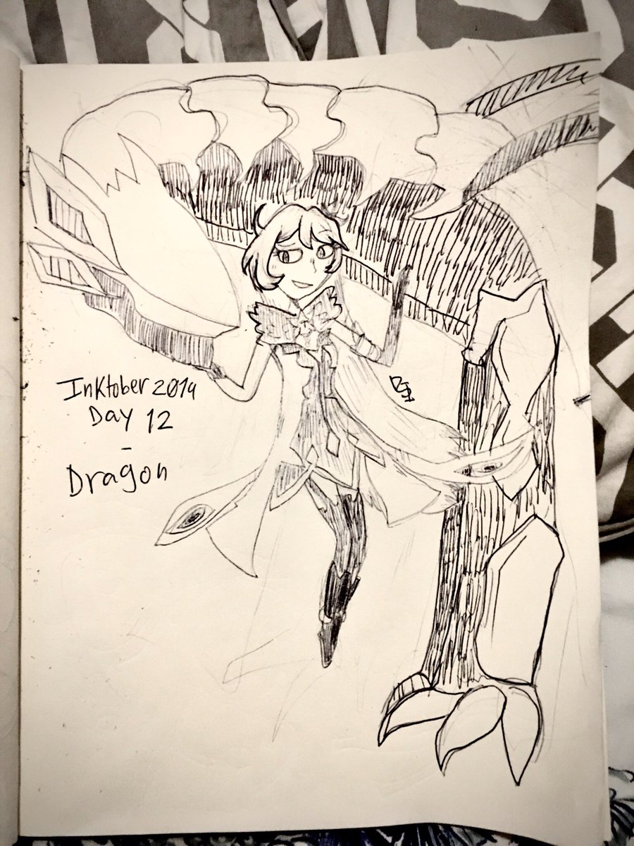 Inktober 2019 Day 12 - Dragon! Sorry that it looks weird! I changed my pen while drawing it! * #Inktober2019 #inktober #honkaiimpact3