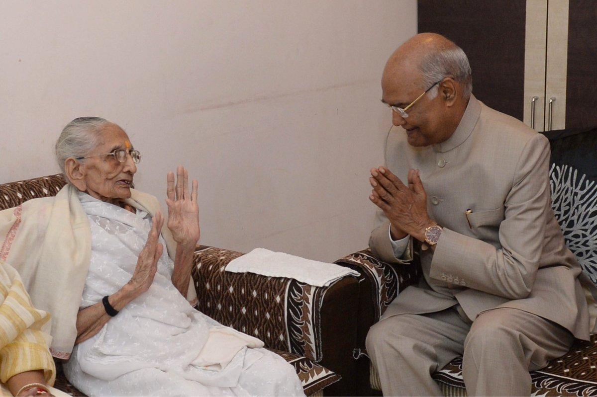 President Ram Nath Kovind visits Prime Minister's mother Hiraba in Gujarat
