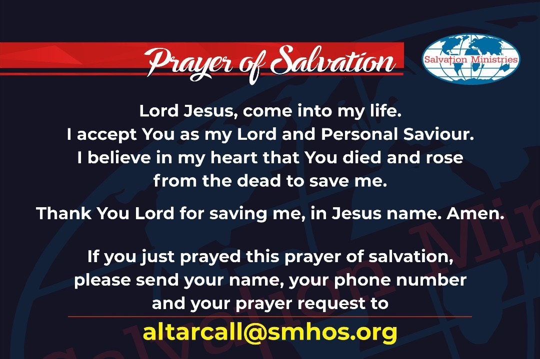 RT smhosglobal: ALTAR CALL: You need a personal relationship with God to enjoy love. Say displayed prayer below with faith. #SMHOS