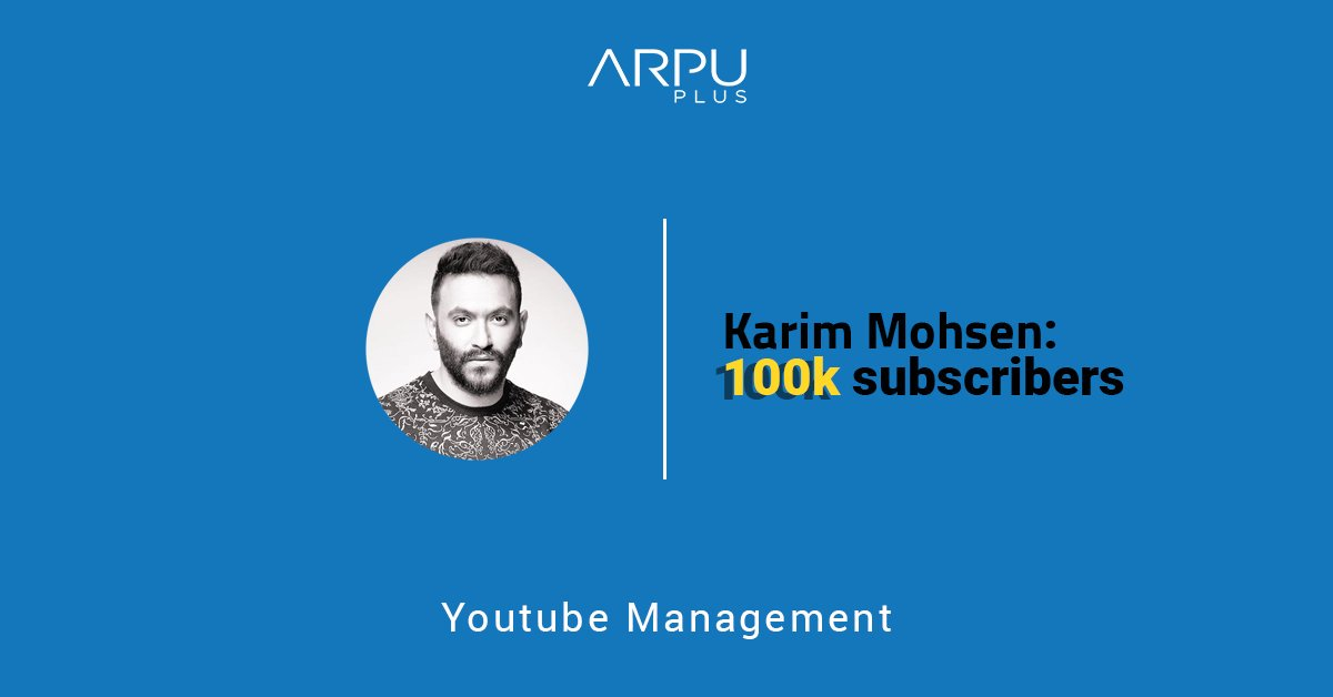 We are proud to announce surpassing 100K subscribers for our rising star KARIM MOHSEN on YouTube!  Check his channel here: https://t.co/yOPo0843Lj  Our certified team can optimize your YouTube channel: https://t.co/u8PFQacNF0  #ArpuPlus #YoutubeManagement https://t.co/Kv1v50cTac