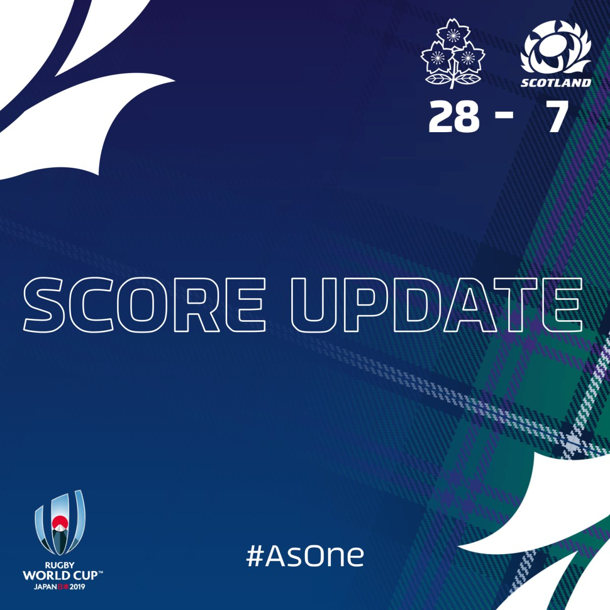 JPNvSCO | Japan start the second half with a try, 28 - 7. 📲 Follow the game using our match centre at bit.ly/2IKnqGI