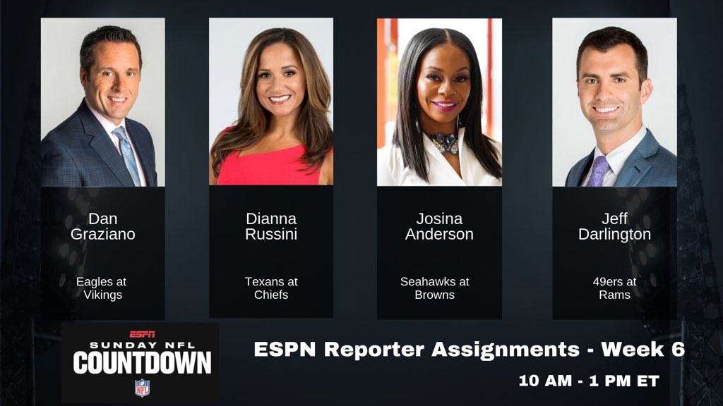 ESPN reporters for NFL wk 6: 🏈 @DanGrazianoESPN #PHIvsMIN 🏈 @diannaESPN #HOUvsKC 🏈 @JosinaAnderson #SEAvsCLE 🏈 @JeffDarlington #SFvsLAR Look for updates throughout Sunday NFL Countdown and #FFNow (E2), 10a-1p ET.