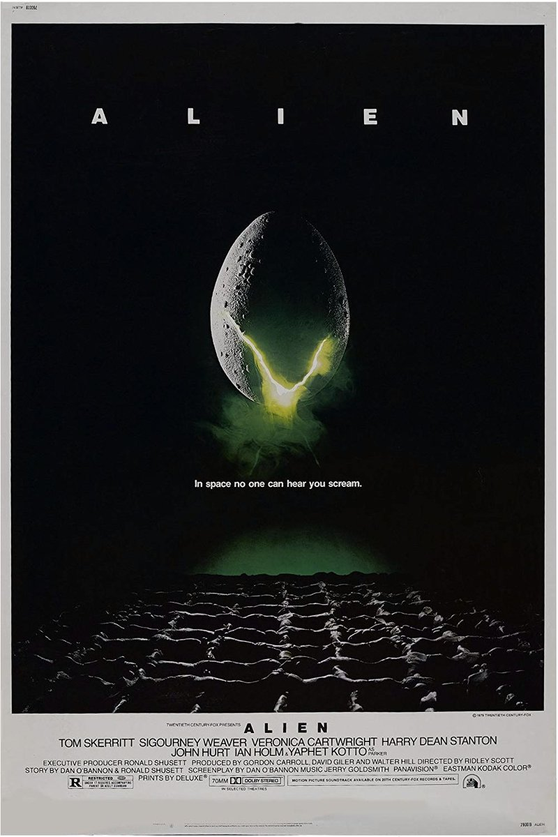 Philip Gips, designer of (among many other things) the poster for Alien, dies at 88. (His wife Barbara wrote the famous tagline, In space no one can hear you scream) nytimes.com/2019/10/11/mov…