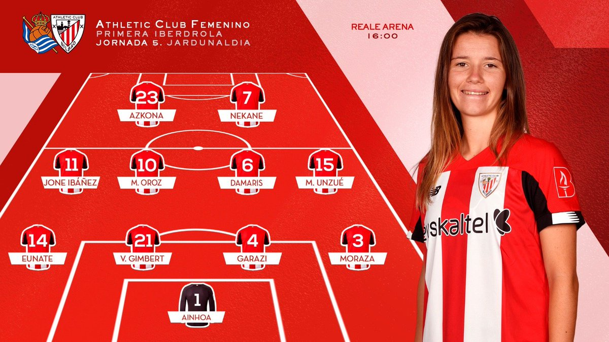 LINE-UP | These are the 1⃣1⃣ lionesses 🦁 that will look for the victory against @RealSociedadEN in the @PrimerIberdrola matchday 5⃣ Cmon girls‼️ #RealSociedadAthleticClub #AthleticClubFem 🔴⚪️