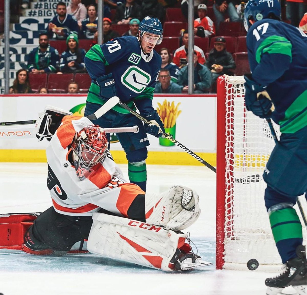 The Vancouver Canucks defeated the Philadelphia Flyers in a shootout by a score of 3-2 on Saturday October 12, 2019. Number 79 was once again outstanding for the Flyers in front of the white twine. #LetsGoFlyers #FlyOrDie #TheHartOfTheFlyers