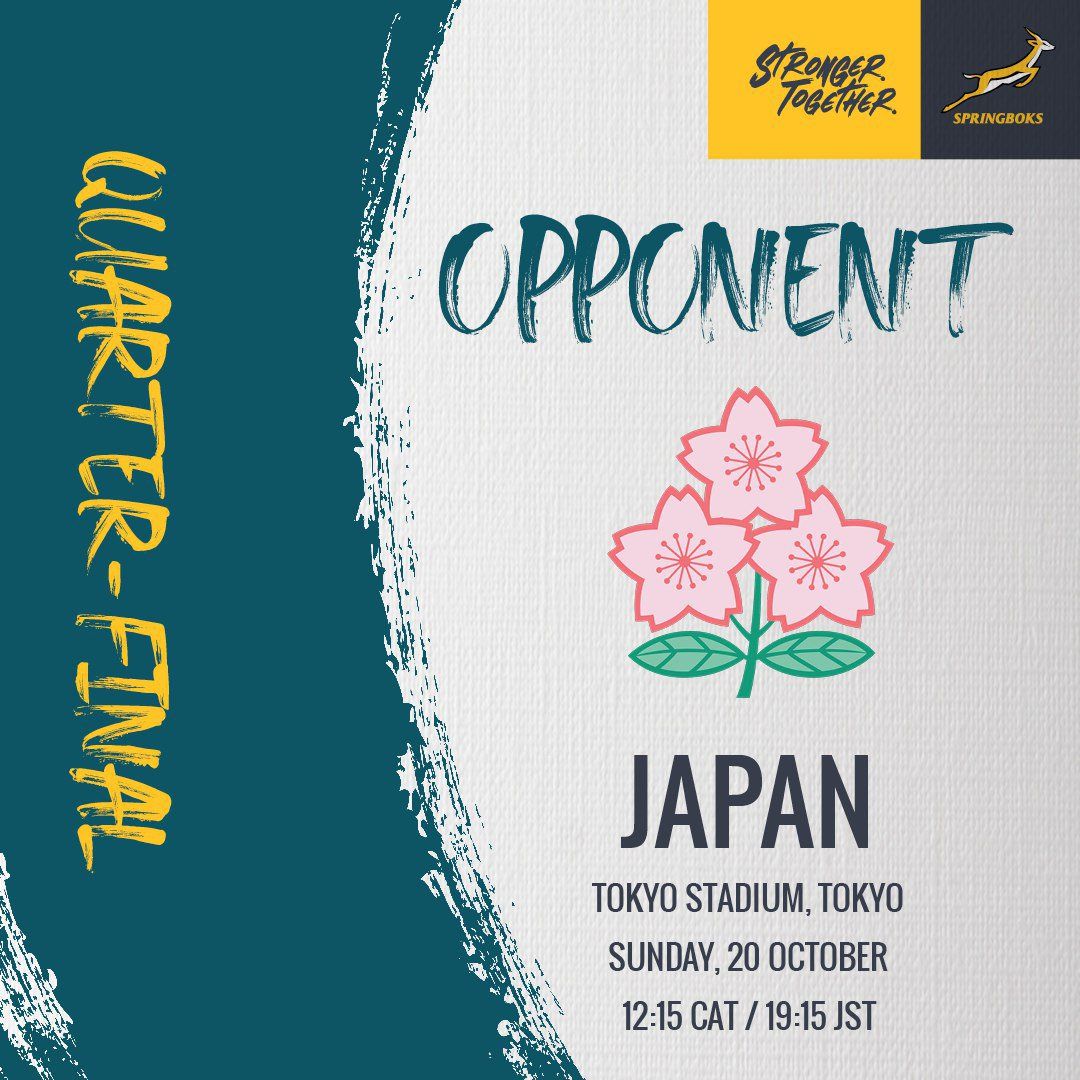 Quarter final fixture - locked in. 🇿🇦🇯🇵 #StrongerTogether #RWC2019