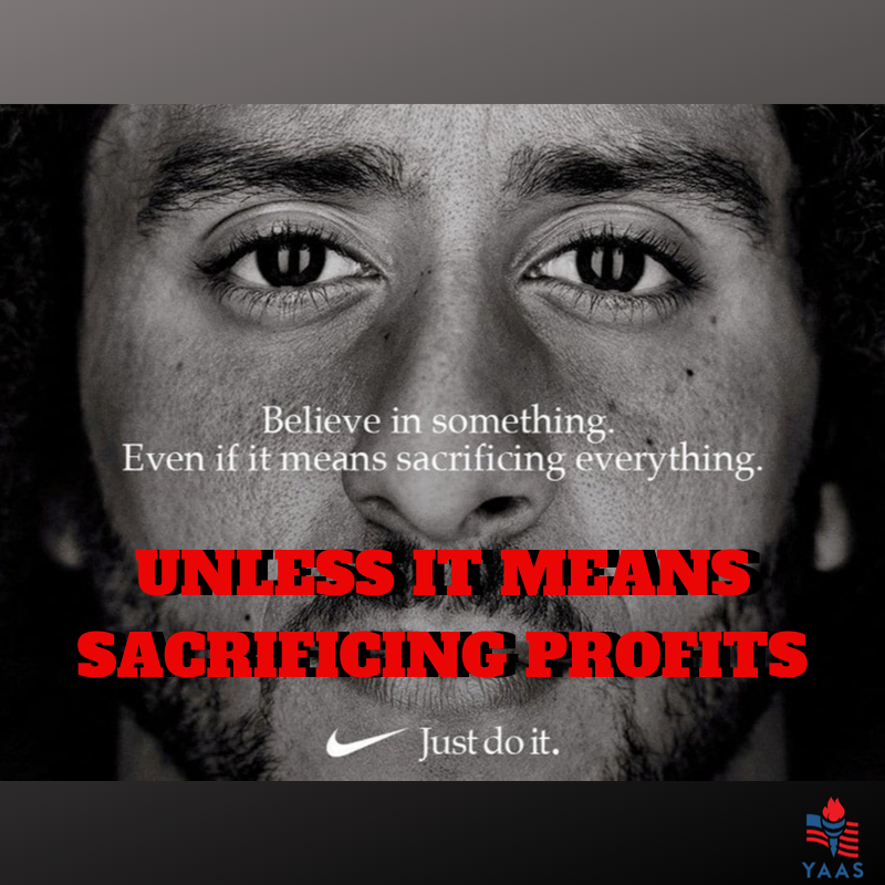Nikes new slogan, now that they bow to Chinas Communist Party.