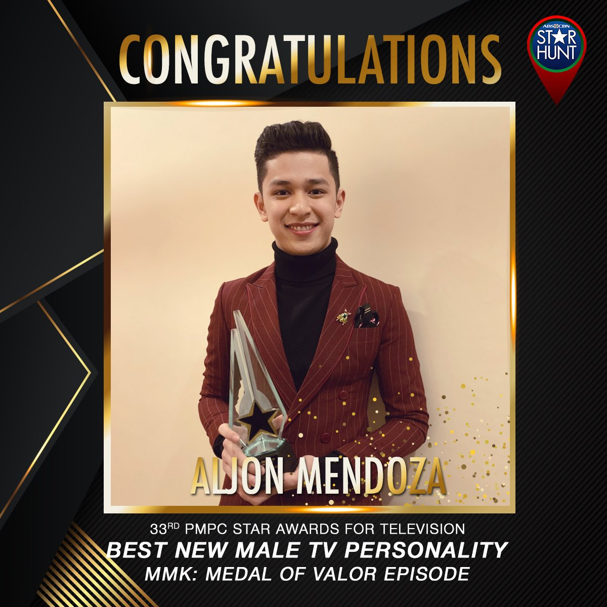 CONGRATULATIONS @AljonMendoza_ for winning this year's BEST NEW MALE TV PERSONALITY at the 33RD PMPC Star Awards for Television! We're so proud of you <br>http://pic.twitter.com/99vuMF4NB8