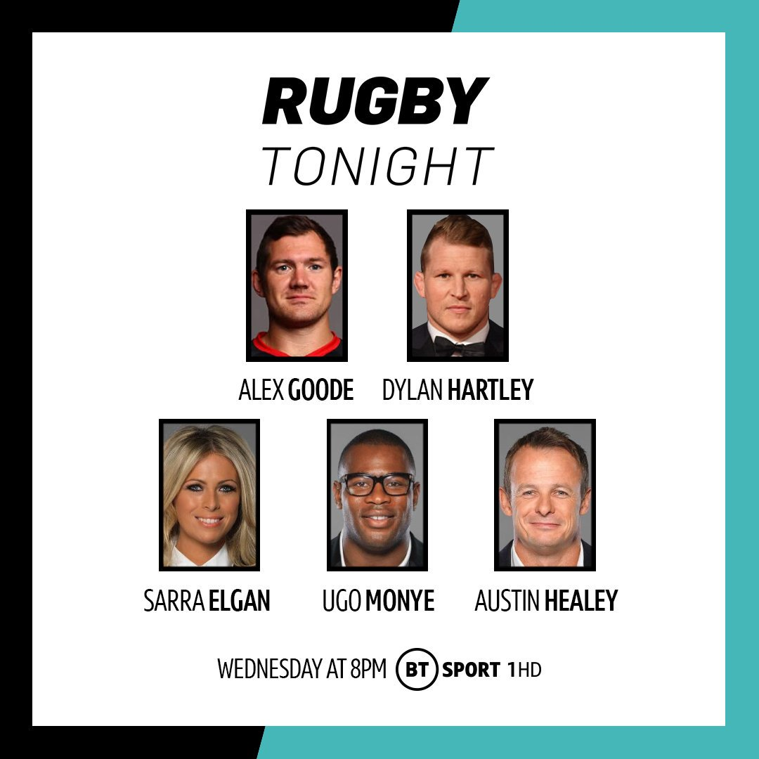 test Twitter Media - What a lineup we have to kick off a new season of #RugbyTonight 😍  @Alex_goode0 and @DylanHartley are in studio!  World Cup quarter-finals 🌹 Return of the Prem 💪  Don't miss it!  Wednesday, 8pm | BT Sport 1 HD https://t.co/ilDITVdu9u