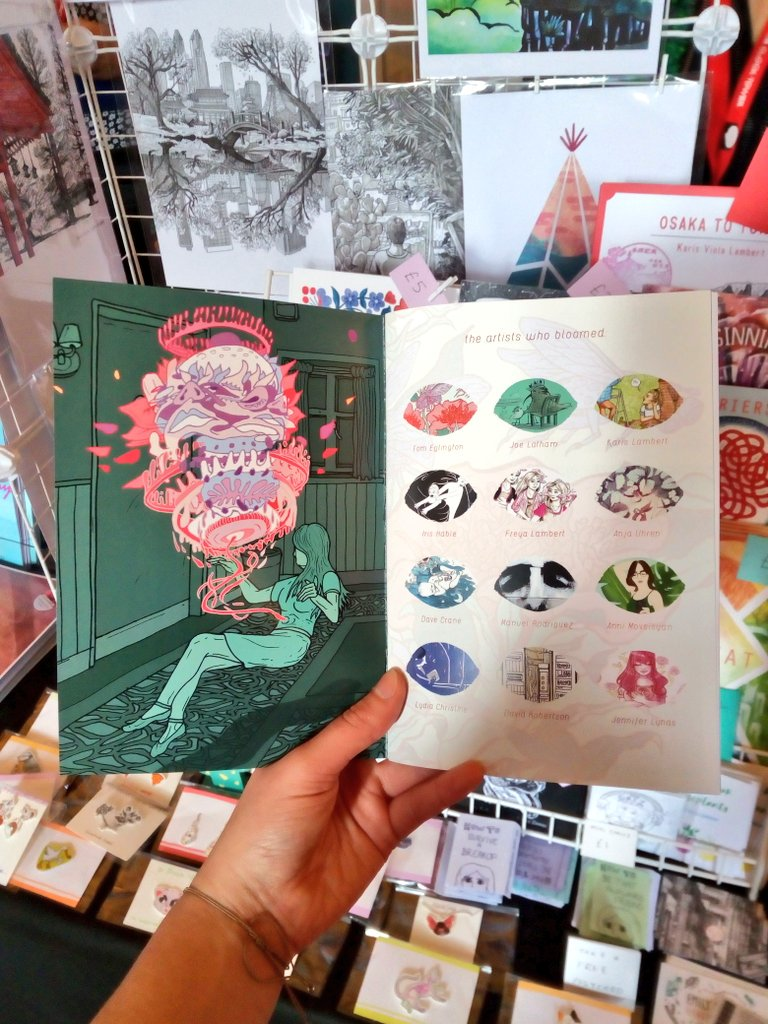 The inner page and contents of Bloom, our latest #comic anthology featuring the work of 12 incredible artists 🎉  We've launched this at @comicartfest this weekend and some copies are now in the homes of comic fans around the UK! 😊   #LICAF #LICAF2019