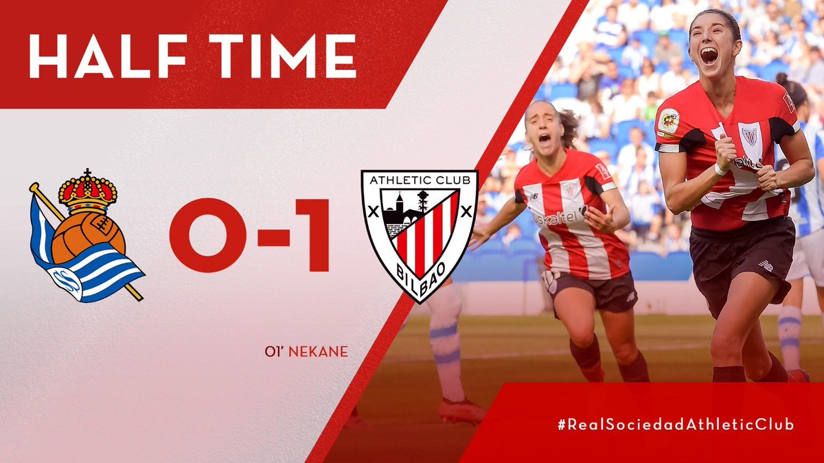 HALF-TIME | Thanks to @neka_7s goal, Athletic win after the first 45 minutes in a derby with a lot of rhythm. 0-1 | #RealSociedadAthleticClub #AthleticClubFem 🔴⚪️🦁