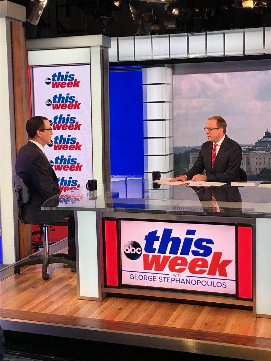 Joined @JonKarl on @ThisWeekABC this morning to discuss sanctions, China, trade and the economy.