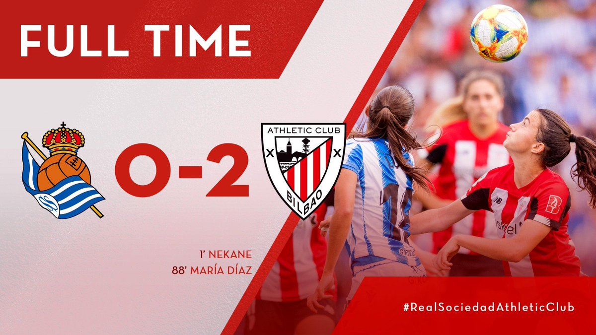 FULL-TIME | The match has finished at Reale Arena! #AthleticClubFem win the derby against @RealSociedadEN in @PrimerIberdrola thanks to the goals scored by @neka_7 and @mdiazcirauqui! Congratulations, girls❗️ 0-2 | #RealSociedadAthleticClub #AthleticClubFem 🔴⚪️🦁