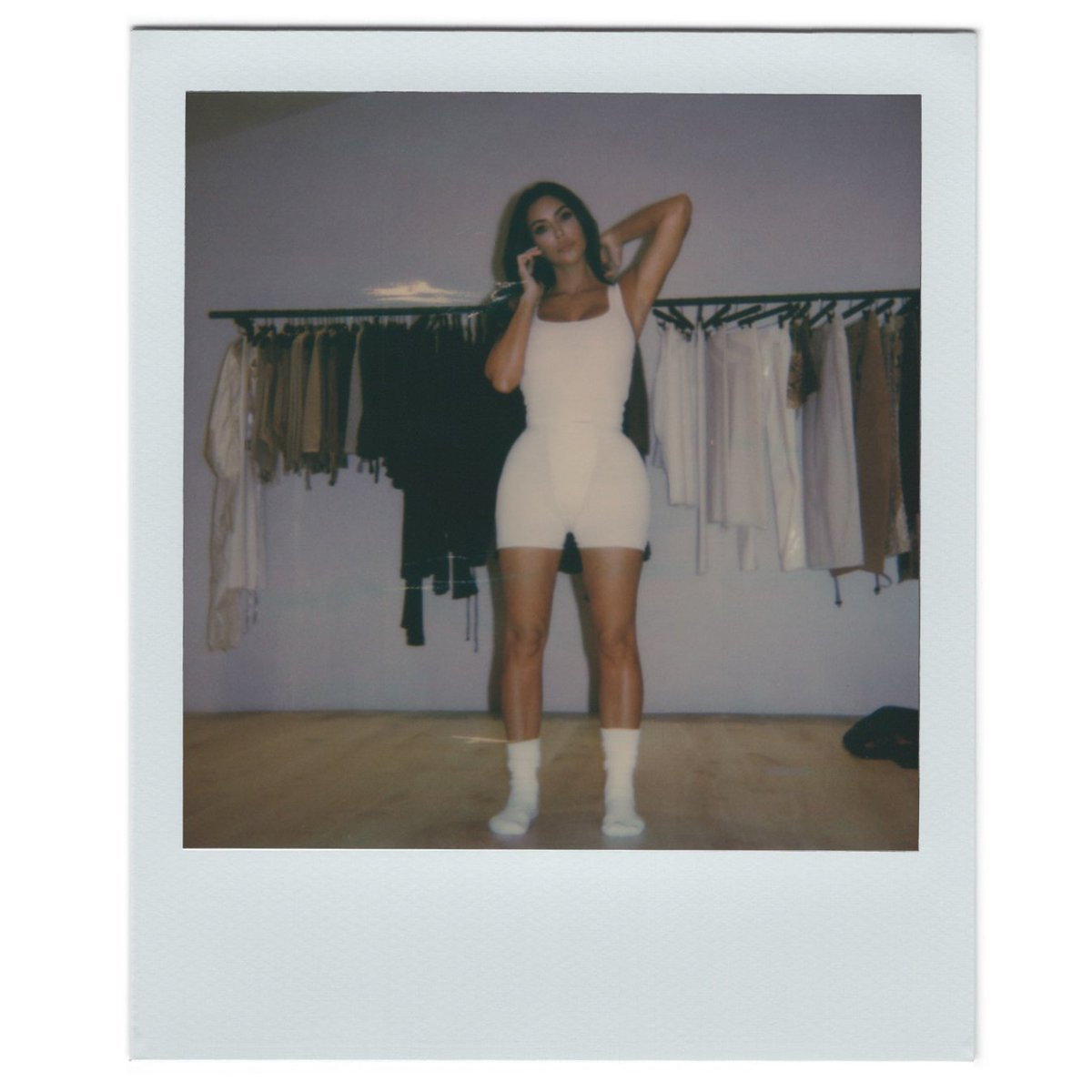 Made for lounging, at home @KimKardashian  wears the Cotton Rib Tank ($34) and the Cotton Rib Boxer ($32) in Bone. Shop the Cotton Collection this Tuesday October 15 at 9AM PST / 12PM EST and join the waitlist now to be notified when it drops.