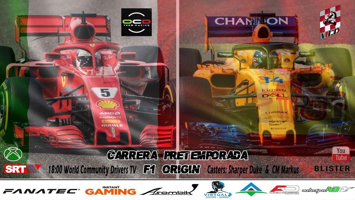 #FelizDomingo #Simracing #XboxOne #XboxOneX #F1 #F1Esports #gaming   Esta Tarde la Última Carrera de Pretemporada #F1ORIGIN   En Cabina con 🎙️ @WSharperduke  @cm_markkus   Tenemos un duelo Internacional !!  Síguenos en Directo  https://youtu.be/52nJpFMrB78  WCD.  VS.   OCD