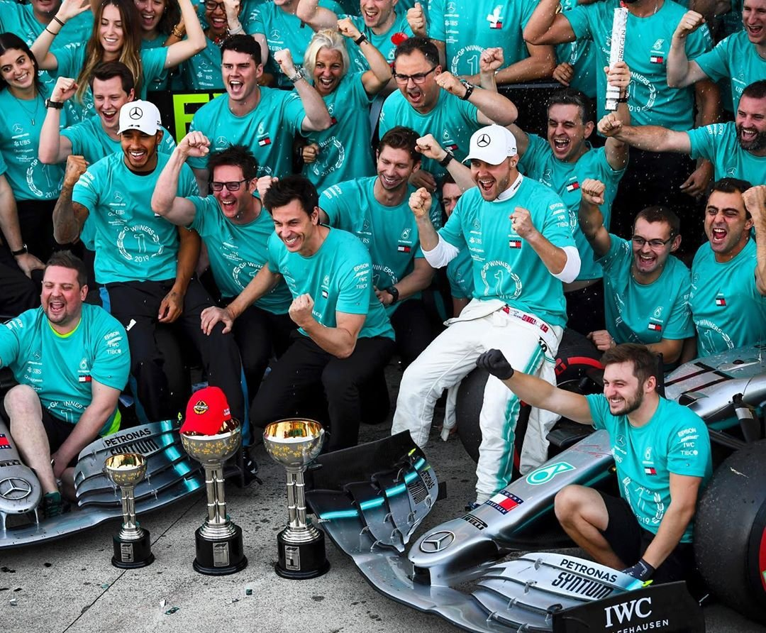 We are the champions! A huge congrats to @MercedesAMGF1 for winning their 6th constructors' title & equaling the record for the most consecutive titles. What an achievement! #ThisIsMyRace #JapanGP #ATeamComeTrue http://bit.ly/2Mxa9mb