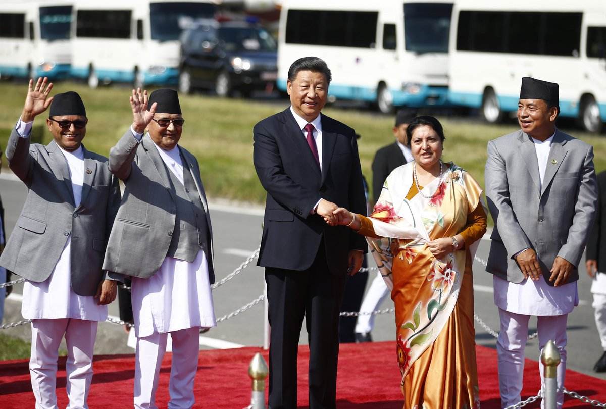 President Bidhya Devi Bhandari, Prime Minister KP Sharma Oli, Vice President Nanda Kishor Pun, along with ministries bid farewell to President of the People's Republic of China, Xi Jinping before his departure at Tribhuvan International Airport, after his two-day state visit.
