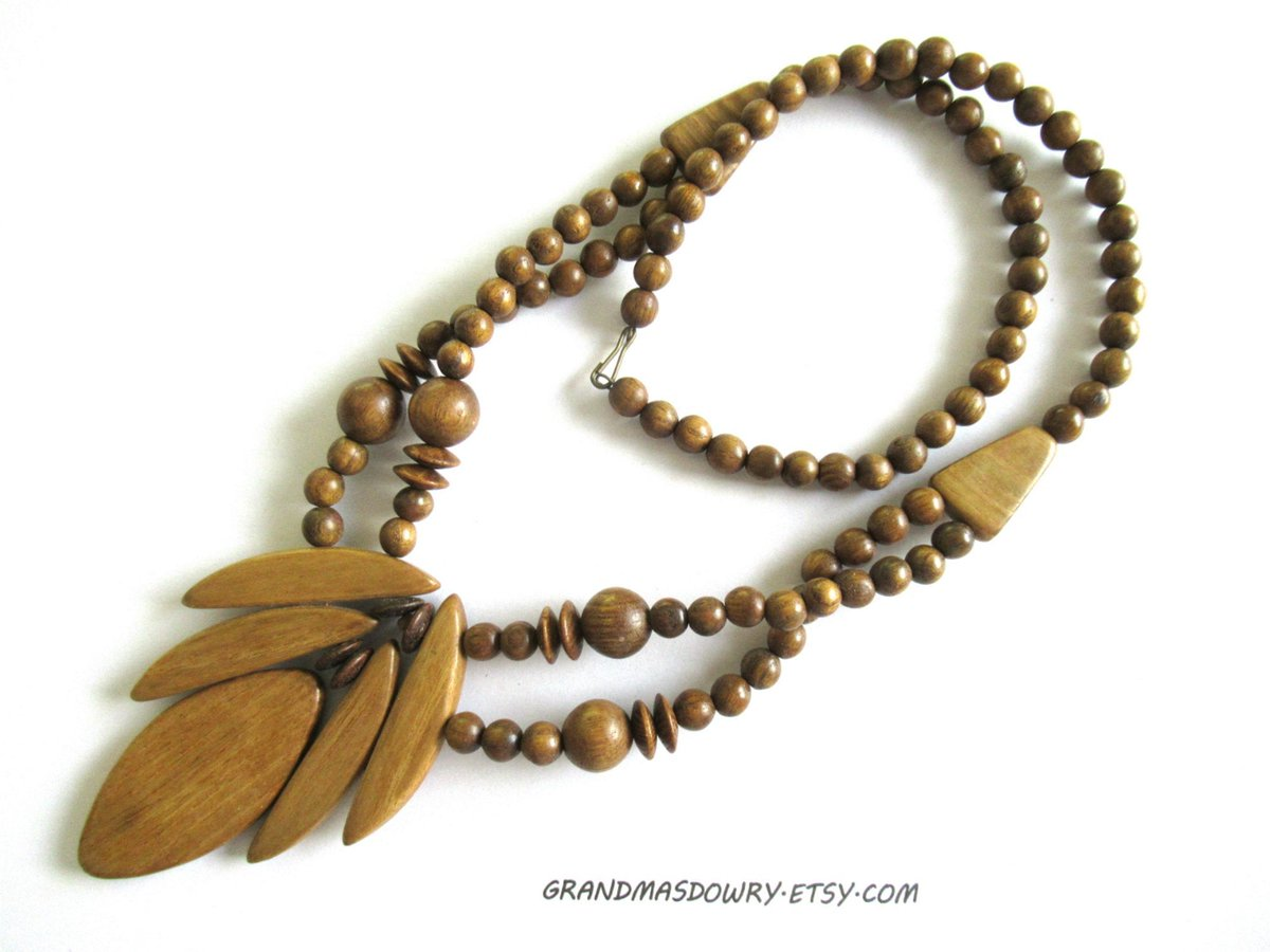 Hand Carved Wooden Necklace, Statement Wood Leaf Beaded Necklace, #ecofriendlygift jewelry       #jewelry #necklace #brown #woodnut #womenJewelry  #birthdayGift #bohohippie #leafJewelry #ecofriendlygift #naturaljewelry