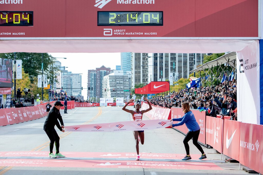 If it hasn't been done before, it's yours to claim. Brigid Kosgei becomes the fastest woman in history to run 26.2 miles with a time of 2:14:04. Congrats on your World Record and second consecutive victory at the Bank of America Chicago Marathon. #justdoit #chicagomarathon