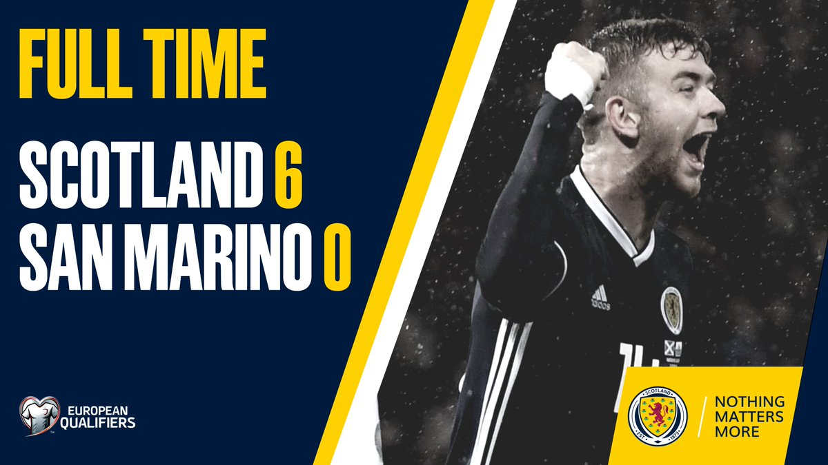 FULL TIME | Scotland 6-0 San Marino. A first-half hat-trick from John McGinn, along with goals from Lawrence Shankland, Stuart Findlay and Stuart Armstrong in the second half seals the win for Steve Clarkes side. #SCOSMR