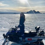 Image for the Tweet beginning: Snowmobiling on a glacier! A