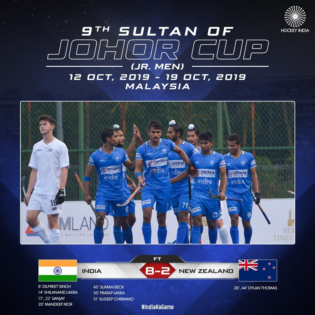Hockey: Indian junior team trounce New Zealand 8-2 in their second match of 9th Sultan of Johor Cup in Johor, Bahru.  #IndiaKaGame   #SultanOfJohorCup   #INDvNZL <br>http://pic.twitter.com/vcBUh0e8Kn