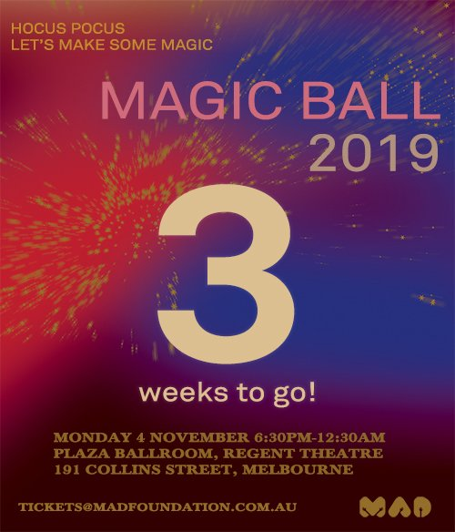 🎉3 Weeks to go for #MADball19!!🎉 Lets make some magic at the annual ball on 4th of November. We hope to see you there! ✨ #madfoundation #makeadifference @knightalliance @CiscoANZ @Bunnings @MarshGlobal @VeoliaANZ @Agilent @mickhurley18 @marcmurphy3 @Chriskingisland