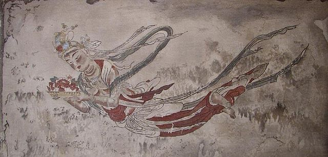 In Japanese mythology, tennin are spiritual beings similar to western fairies, angels, and nymphs. Depicted as beautiful women, Tennin can fly, indicated in art by their colored or feathered kimonos, called hagoromo or a feather dress. (Img: Pub Dom) #MythologyMonday