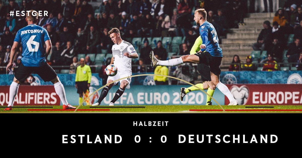 ⏱ 45. +1 Min. Pause in Tallinn. 🇪🇪 Noch sind keine Tore gefallen. ⚽️ 0:0 #ESTGER