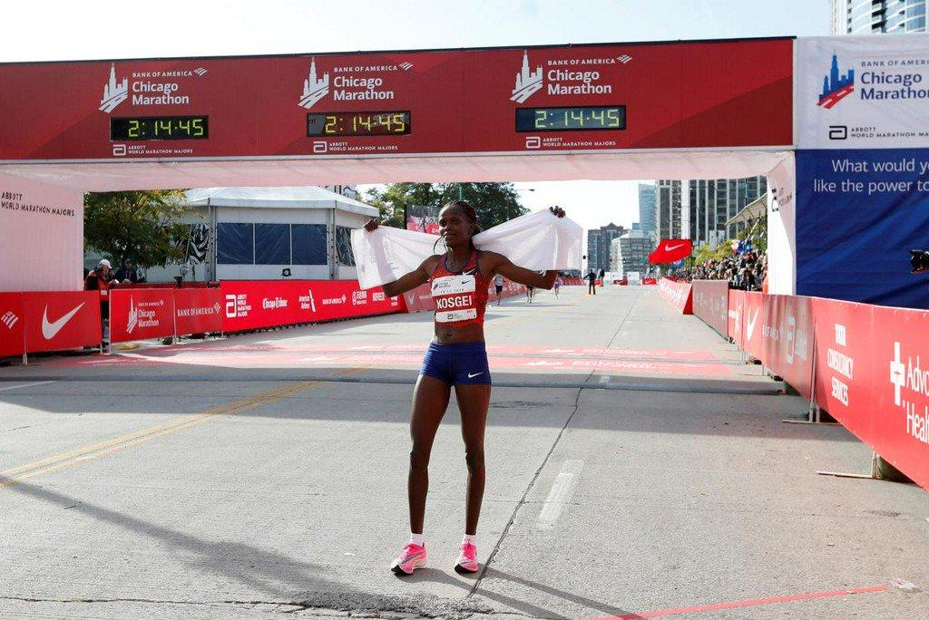 Kosgei shatters Radcliffe's world record, Cherono wins men's race