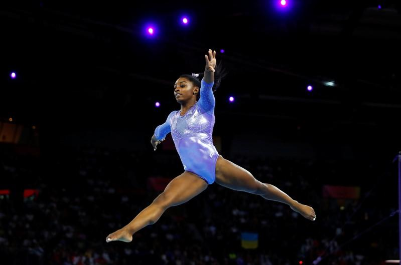 Biles dazzles on floor to win record 25th world championship medal