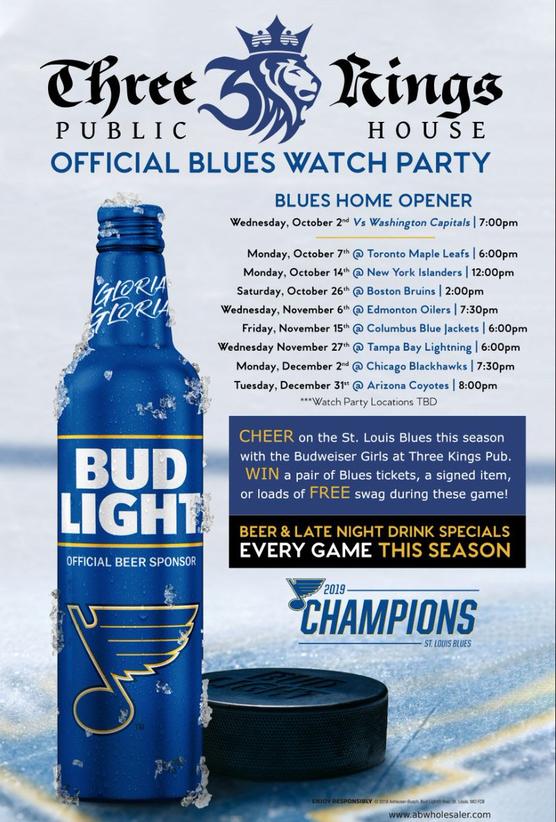 Matinee Monday #STLBlues Watch Party at our #ThreeKingsPub @TheDelmarLoop location tomorrow at noon. Win tickets to a Blues game, an autographed stick, & loads of Free swag courtesy of the official sponsor of the @stlouisblues - @budlight #KINGSoftheCUP #WeAllBleedBlue #StLouis