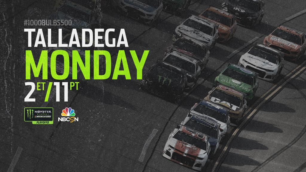 Replying to @NASCAR: NEWS: #NASCARPlayoffs race at @TalladegaSuperS postponed until 2 PM ET Monday due to inclement weather.