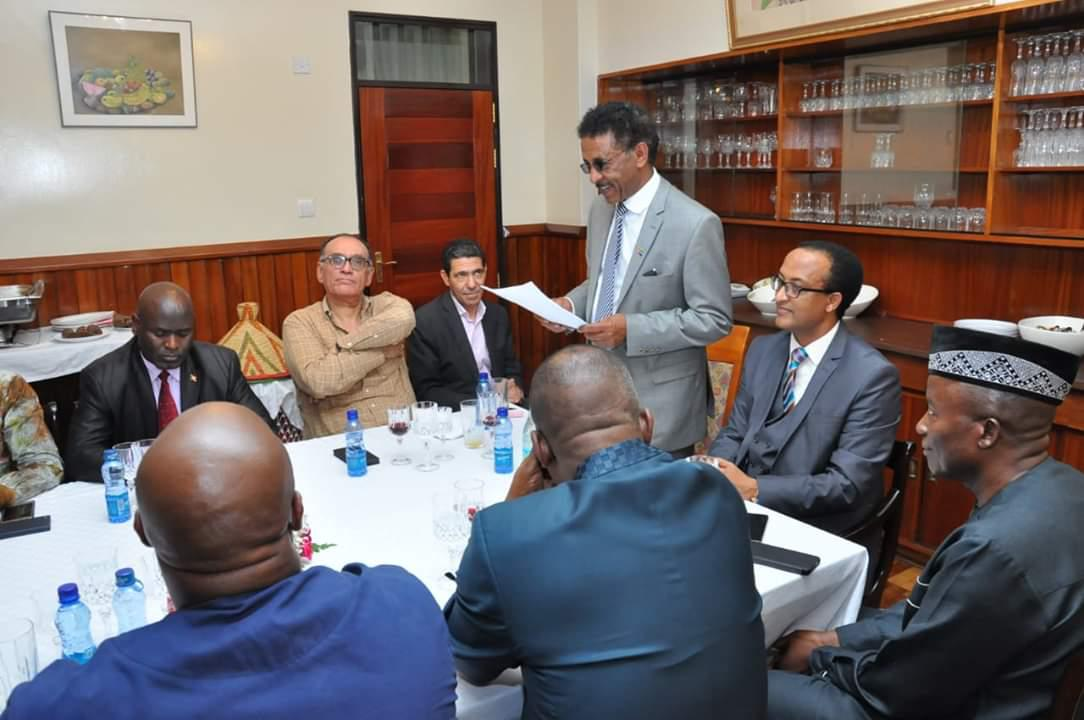 We z ADC bade farewell to Amb Salah Francis of Algeria tday in a luncheon hosted in his honor by Amb Meles Alem of Ethiopia  A souvenir of gratitude was also  given to Amb. Salah  The ADC also thanked Amb Meles &spouse Wro Emebet for their amazing generosity. <br>http://pic.twitter.com/PEHUw2ltNf