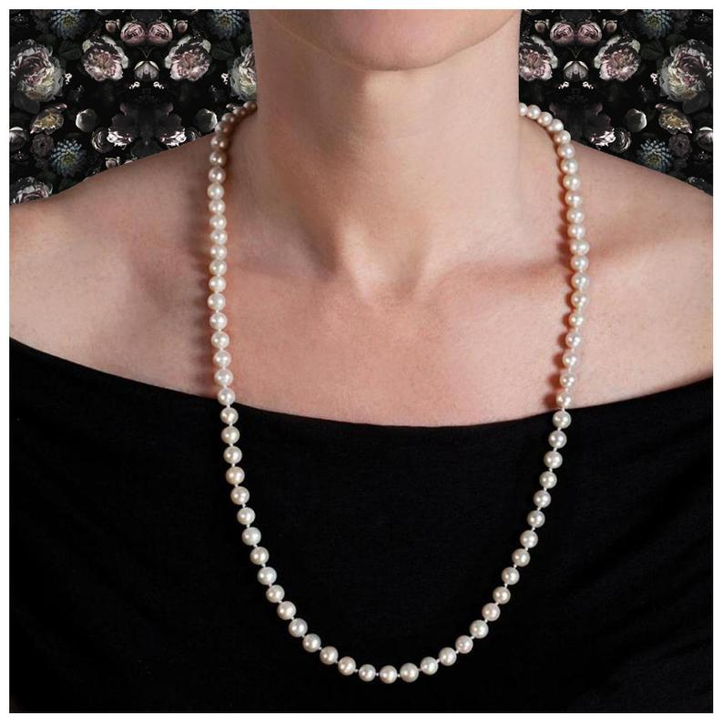 White Vintage Estate Cultured Pearl 14k Yellow Gold Necklace  #earrings #handmade #jewelrygram #bling #boutiques #instadaily #sterlingsilverjewelry #Silver #etsy #etsyhandmade #pendant #selfemployed #fashionjewelry #handmadejewelrysale #jewelrystore