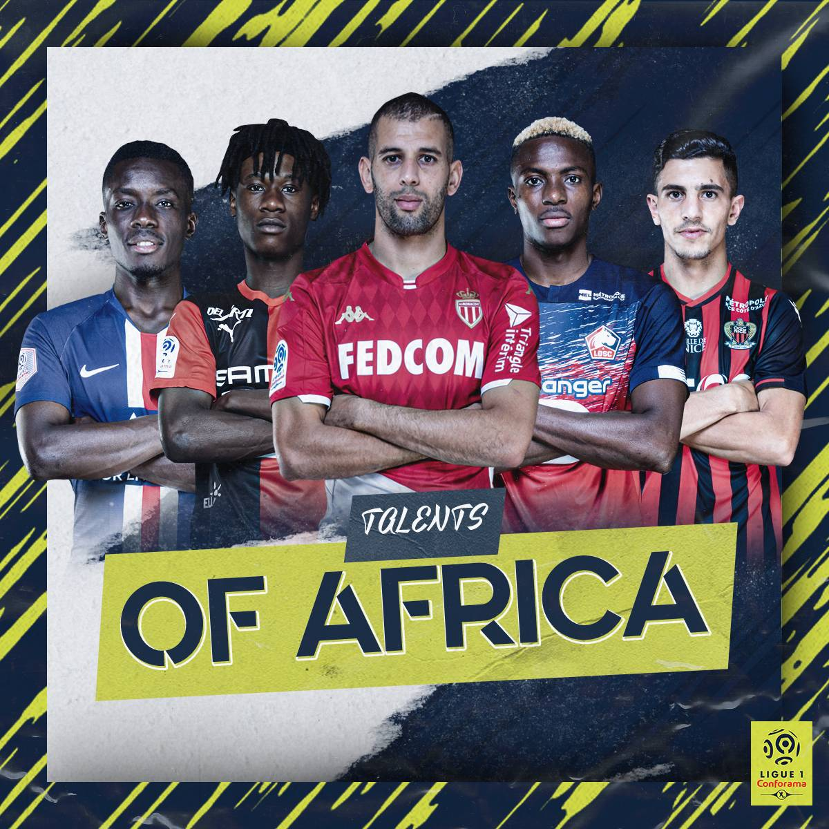 We also celebrate the African s of today's Ligue 1 Conforama!   @IGanaGueye   @ecama10   @slimaniislam   @victorosimhen9   @YoucefAttal<br>http://pic.twitter.com/uyxWu7YQu5