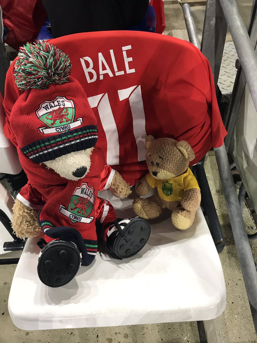 Someone really needs to check that these 2 have tickets. Bad enough they sneak into Cardiff home and away games, but now they're sneaking into Wales games too😂 #duffythedisneybear #emi #cardiffcityfc #fcnantes #walesvcroatia