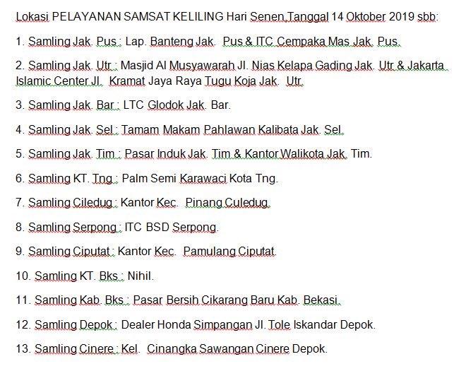 Lokasi Samsat Keliling, Senin 14 Oktober 2019.