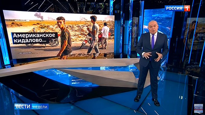 Russian TV coverage of slaughter of Kurds: Tells the world America can not be trusted. Says, Other nations should make deals with Russia.