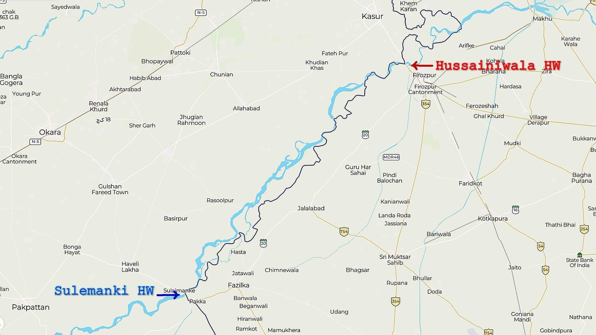 Map of Hussainawala and Sulemanki Headworks