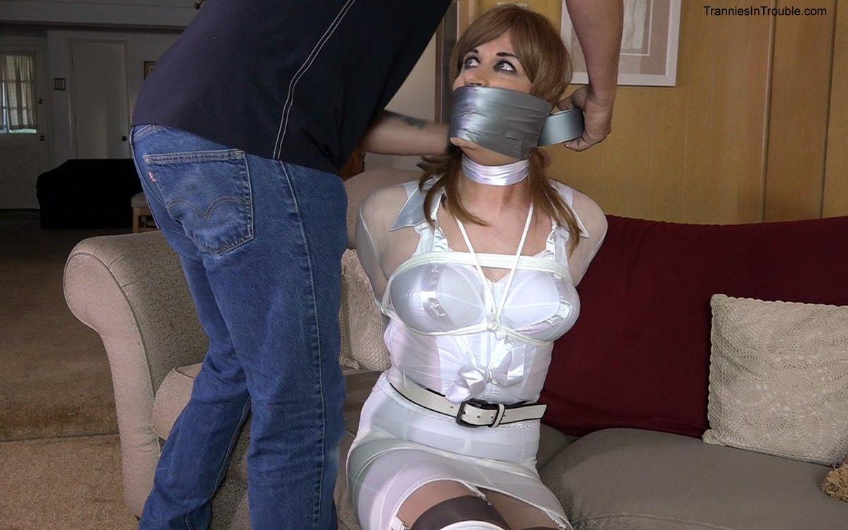 Grey tape mummification young girl