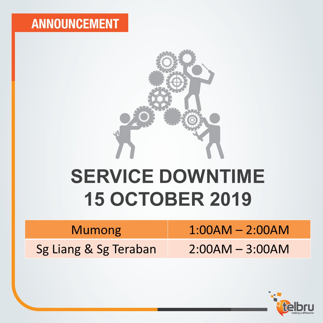 Our service provider will perform network maintenance between 25 Sept to 29 Oct 2019. TelBru's Internet, telephony & leased line services will be unavailable at this time. We will update the schedule closer to time, and we apologise for any inconveniences caused by this matter.<br>http://pic.twitter.com/gO5JSVoNAL