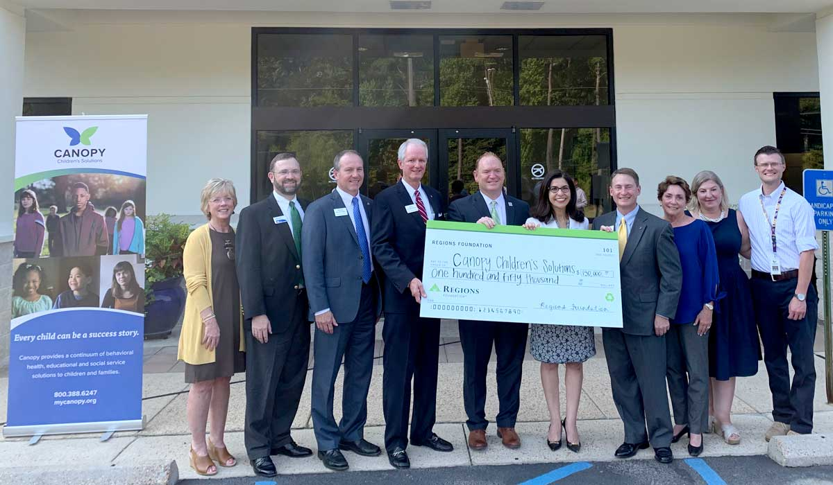 The Regions Foundation, a nonprofit initiative of Alabama-based Regions Bank, donated $150,000 to Canopy Children's Solutions, a nonprofit that provides mental health, social and educational services to children in Mississippi, on Wednesday, Oct. 2. #JXN  http:// ow.ly/QFba30pGgdV     <br>http://pic.twitter.com/GEKyiNYefm