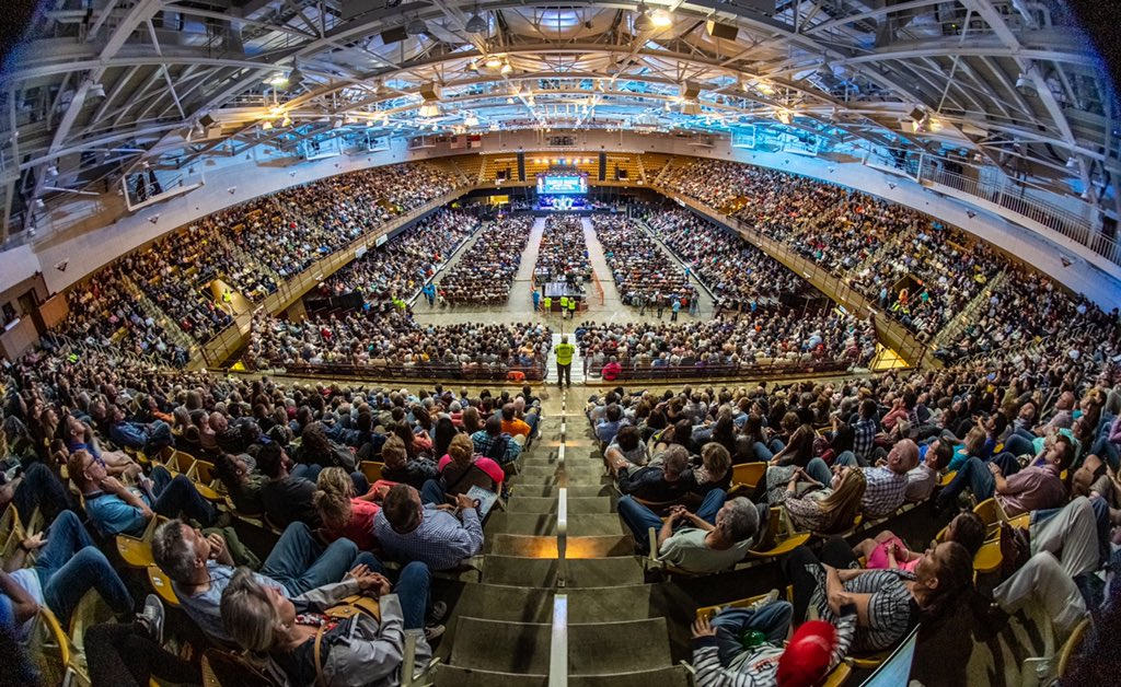 Thankful to share with a capacity crowd at the US Cellular Center in Asheville today that God loves them and wants to have a relationship with them through repentance and faith in His Son, Jesus Christ.