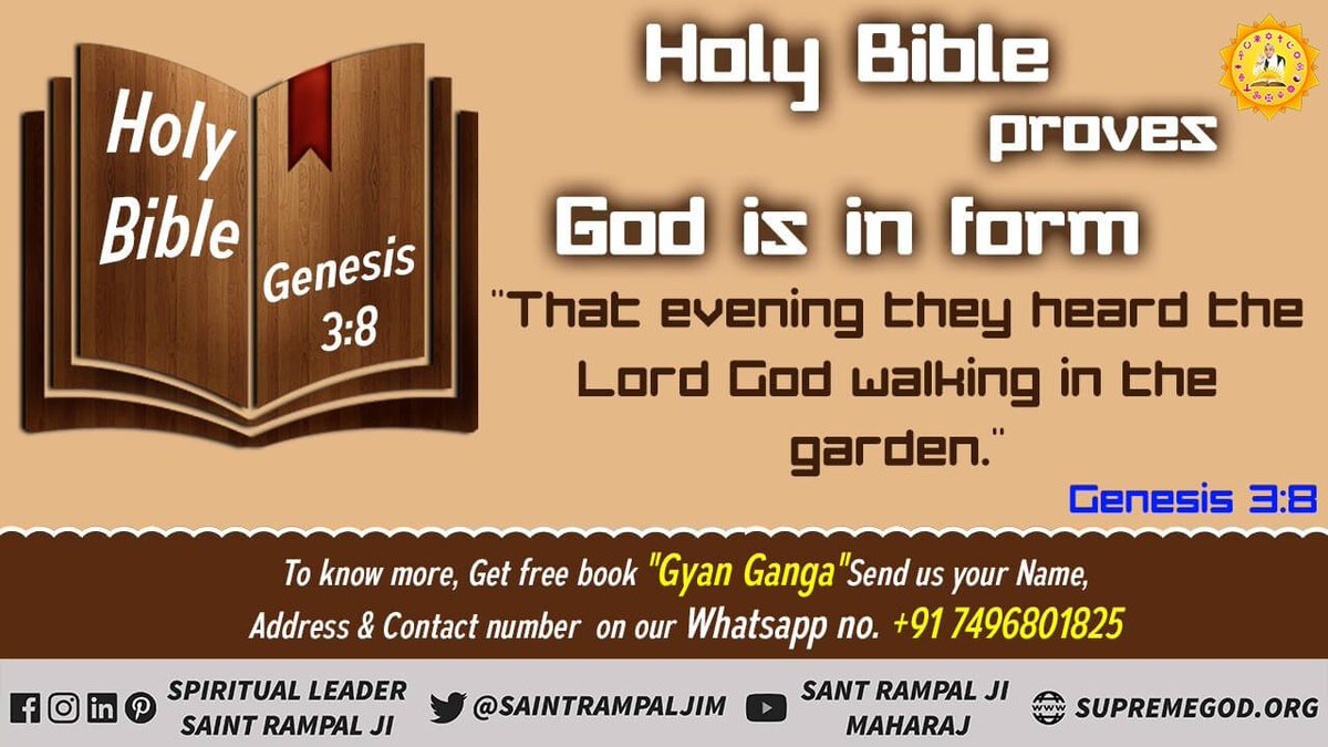 #GodMorningMonday  Holy Bible proves God is in form for more information must watch sadhana channel at 7 30 pm <br>http://pic.twitter.com/1jecuhiKwj