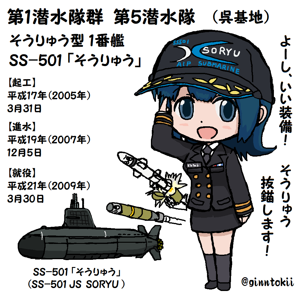 """銀時@提督 a Twitter: """"#エア観艦式 その10 第1潜水隊群第5潜水隊 ..."""