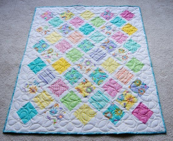 #Beautiful #ToddlerGirl #Modern Quilt Perfect for #birthday #babyshower #holiday #naptime #stroller #handmadeQuilt,  #Butterfly #Flowers #Pastels https://buff.ly/2J3Ezfj